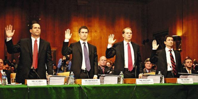 Accusés de spéculations aux dépens de leurs clients, les responsables de Goldman Sachs ont dû répondre de leur implication dans la crise des subprimes devant  la commission d'enquête du Sénat américain. Ici en avril 2010.