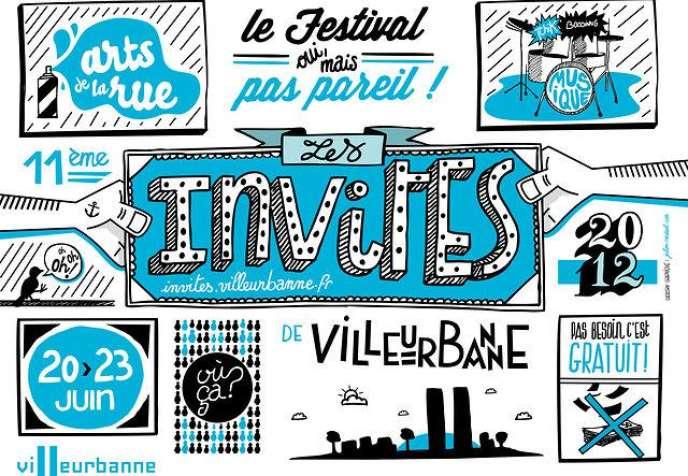 Visuel du festival Les Invités à Villeurbanne, du 20 au 23 juin 2012.