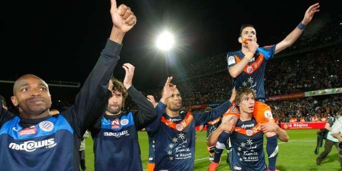 Les joueurs de Montpellier célèbrent leur victoire face à Lille (1-0), le 13 mai à Montpellier.