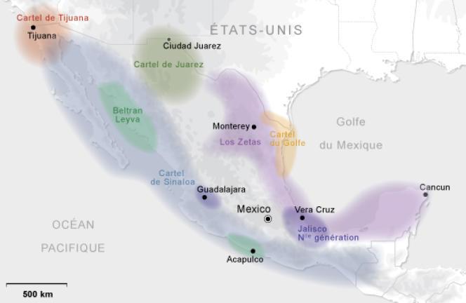 Les principaux cartels mexicains et leurs zones d'influence.