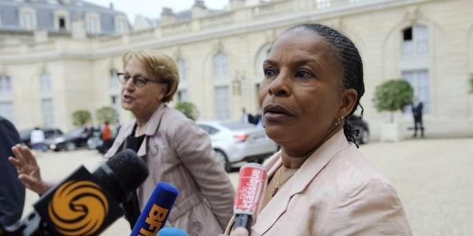 Christiane Taubira dans la cour de l'Elysée, mercredi 17 mai.