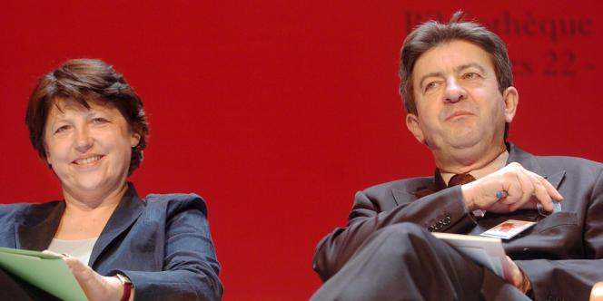 Martine Aubry et Jean-Luc Mélenchon le 22 avril 2005.