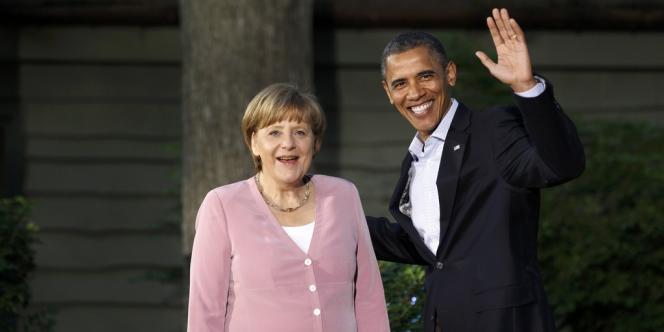 Le président américain Barack Obama accueille la chancelière allemande Angela Merkel à Camp David, vendredi 18 mai 2012.