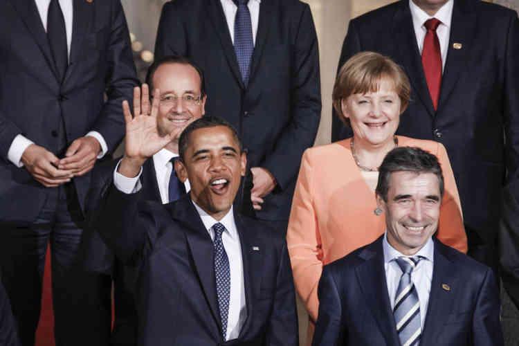 François Hollande,Angela Merkel, Barack Obama et le secrétaire général de l'OTAN, Anders Fogh Rasmussen, pour photo de famille des chefs d'états à la réunion du conseil de l'OTAN à Chicago, Etats-Unis. Dimanche 20 mai.