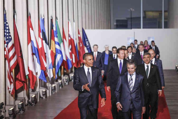 Seconde photo de famille des chefs d'Etats à la réunion du conseil de l'OTAN à Chicago, Etats-Unis. Dimanche 20 mai ©
