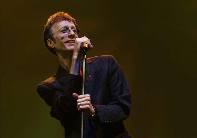 Robin Gibb, le chanteur des Bee Gees, le 1er mars 2008 au festival de jazz de Dubaï.