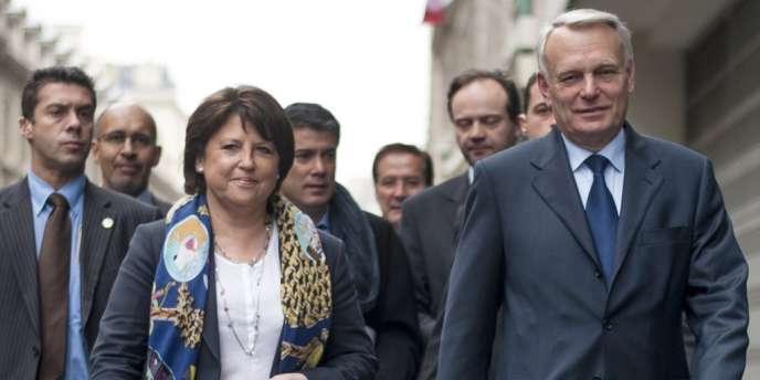 Martine Aubry et Jean-Marc Ayrault, le 22 mai, à Paris.