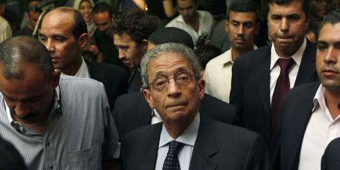Le candidat à la présidentielle égyptienne des 23 et 24 mai, Amr Moussa, lors d'une conférence au Caire, le 16 mai 2012.