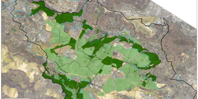 Projet de zone de protection naturelle, agricole et forestière, au 7 décembre 2011. En vert clair, les zones agricoles, en vert foncé les zones naturelles.