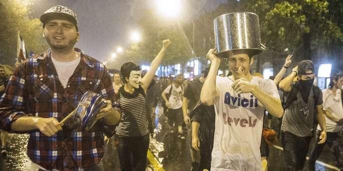 Des étudiants manifestent le 25 mai à Montréal.
