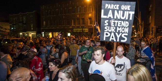 Manifestation nocturne le 26 mai à Montréal.