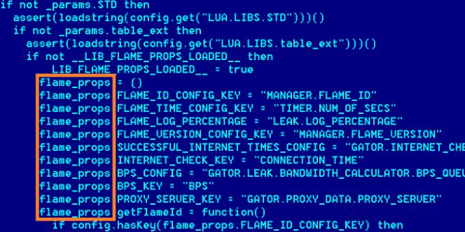Le code du système d'information Flame.