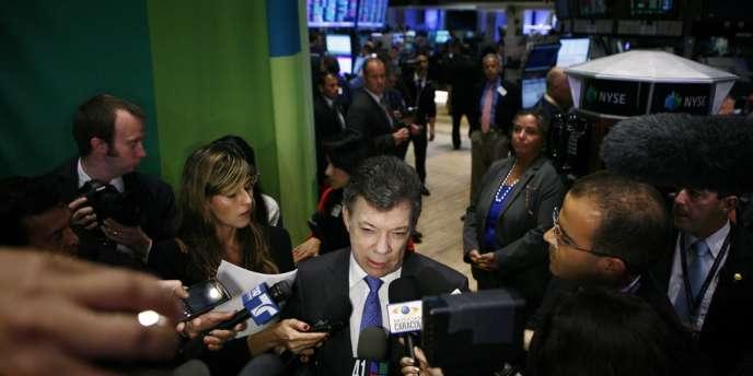 Le président de la Colombie, Juan Manuel Santos, lors d'une conférence de presse à New York, le 25 mai.