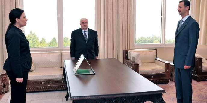 Lamia Chakkour, à Damas, lors de sa nomination à l'ambassade de Syrie en France par Bachar Al-Assad, en août 2008.