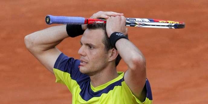 Paul-Henri Mathieu jeudi à Roland-Garros.