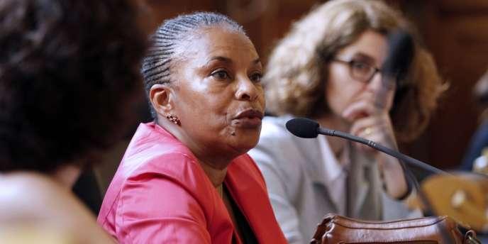 Christine Taubira, à l'assemblée générale de l'AFMJF, le 2 juin à Paris.