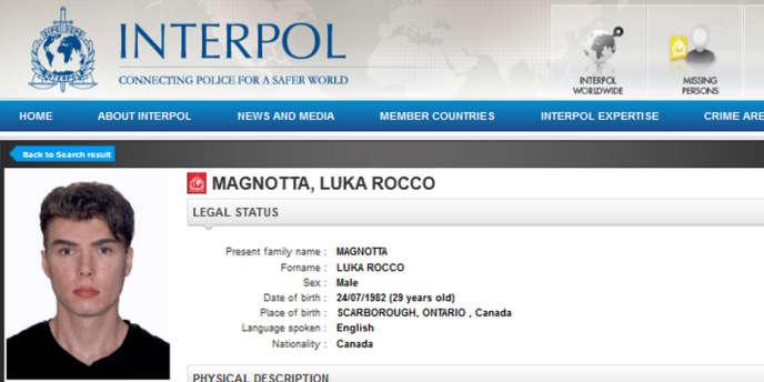 La fiche de recherche diffusée le 31 mai par Interpol de Luka Rocco Magnotta.