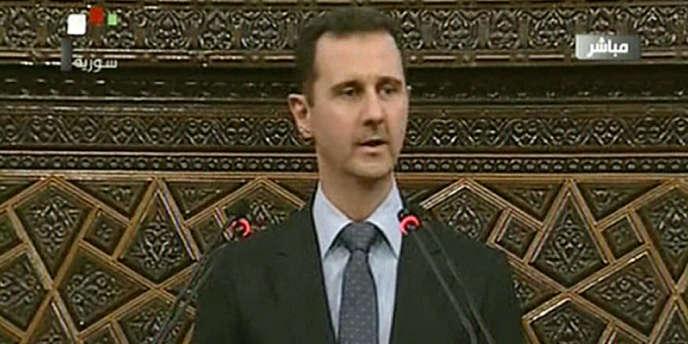 Le président syrien Bachar Al-Assad à la tribune du Parlement à Damas, le 3 juin.