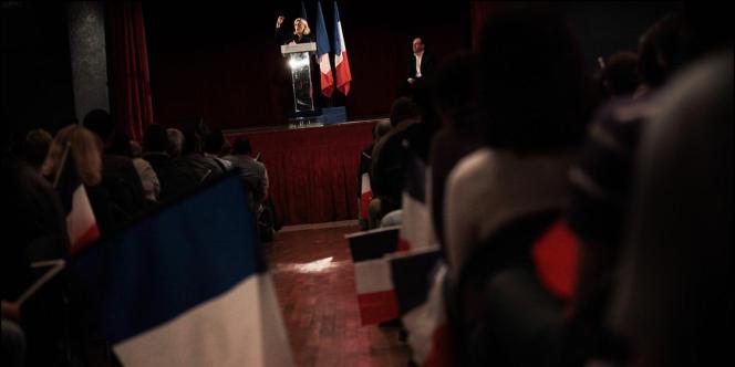 Meeting de Marine Le Pen à Hénin-Beaumont (Pas-de-Calais), lundi 4 juin. La présidente du FN est candidate aux législatives dans la 11e circonscription du département.