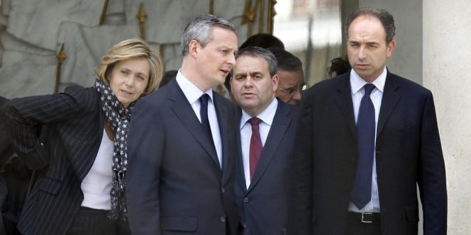 Valérie Pecresse, Bruno Le Maire, Xavier Bertrand et Jean-François Copé, le 7 mai 2012, à l'Élysée.