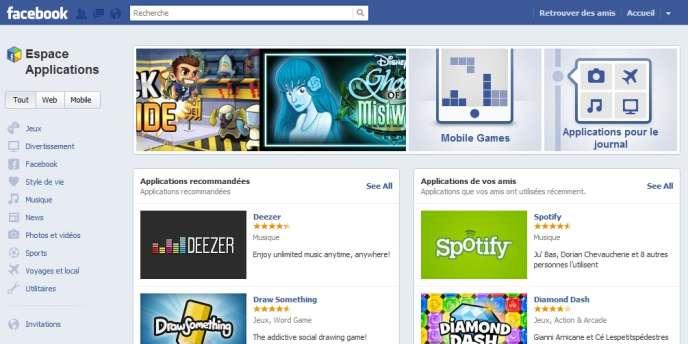 L'Espace Application de Facebook.