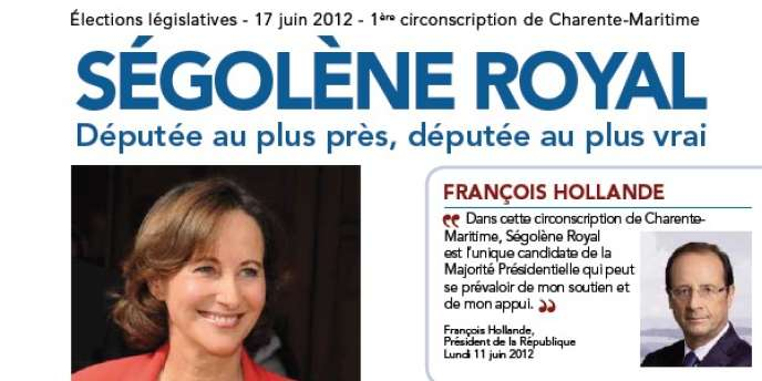 Une capture d'écran de la profession de foi de Ségolène Royal pour le second tour des élections législatives, à La Rochelle.