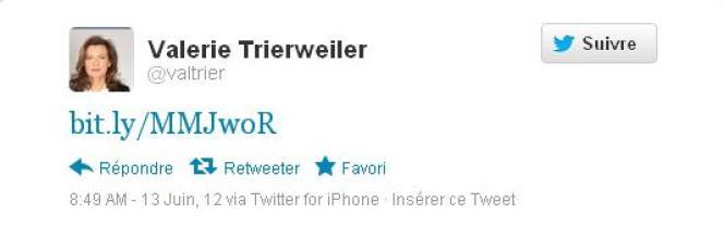 Tweet publié sur le compte @valtrier