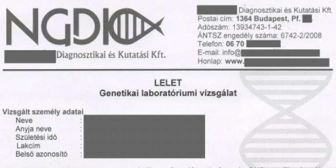 Fac-similé du certificat fourni par le laboratoire hongrois et publié sur un site d'extrême droite.