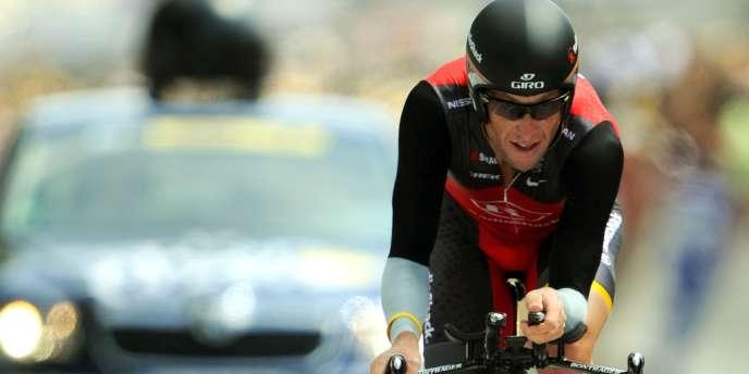 Lance Armstrong sur le Tour de France, le 24 juillet 2010.