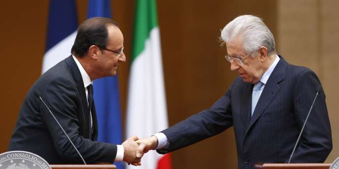 Le président français François Hollande et le président du Conseil italien Mario Monti, le 14 juin à Rome.
