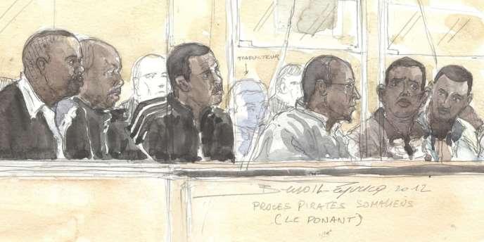 Croquis montrant les six accusés dans le procès du