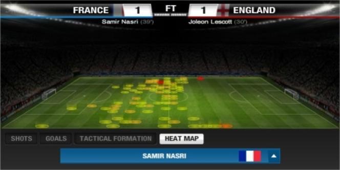 Les placements de Samir Nasri lors de France-Angleterre, le 11 juin.