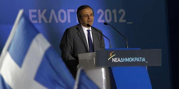 Meeting d'Antonis Samaras, le leader de Nouvelle Démocratie, le 15 juin 2012 à Athènes.