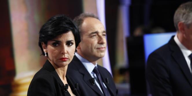 Rachida Dati et Jean François Copé sur le plateau de TF1.