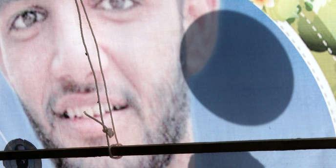Une affiche pour la libération du footballeur palestinien Mahmoud Sarsak, détenu par Israël.