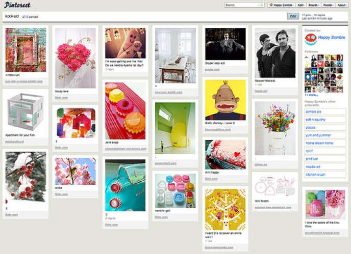 Le site Pinterest, nouveau réseau social à la mode aux Etats-Unis. Le principe de ce site de partage d'images est simple : chaque utilisateur a un tableau (un