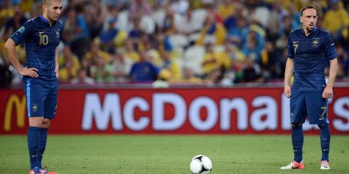 Karim Benzema et Franck Ribéry, ici lors de France-Ukraine le 15 juin, n'ont encore jamais marqué sur coup de pied arrêté avec l'équipe nationale.