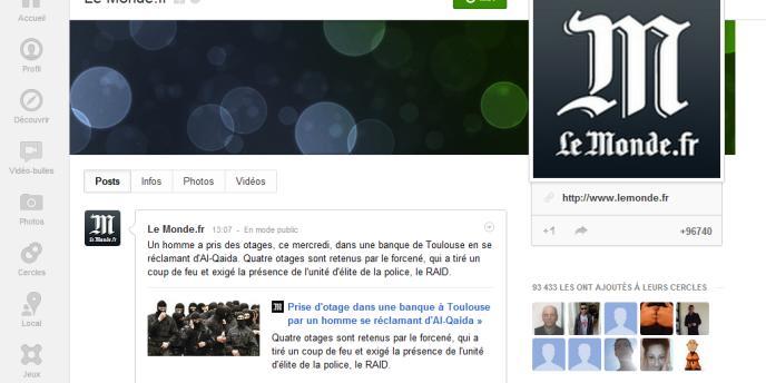 La page du Monde.fr sur Google+.