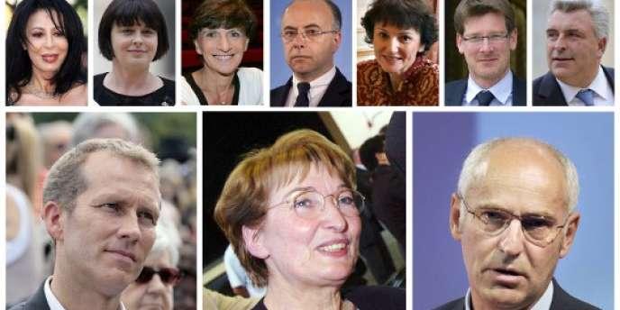 Trombinoscope du nouveau gouvernement de Jean-Marc Ayrault, nommé le jeudi 21 juin. (En bas, de gauche à droite : Guillaume Garot, Anne-Marie Escoffier et Thierry Repentin).