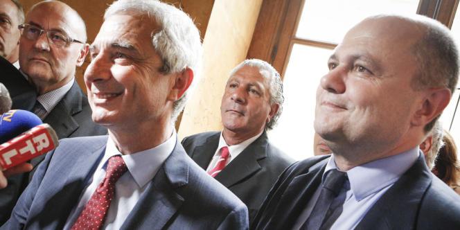Claude Bartolone, président de l'Assemblée nationale, et Bruno Le Roux, président du groupe socialiste, jeudi 21 juin 2012, à Paris.