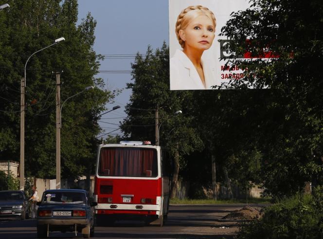 Portrait de l'opposante et ex-première ministre emprisonnée Ioulia Timochenko, à Donetsk, le 22 juin 2012.