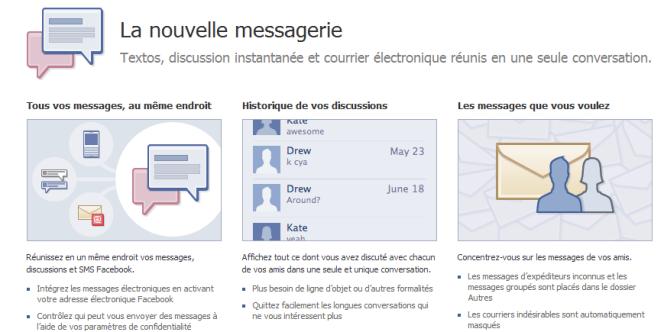 Publicité pour le système de messagerie de Facebook.