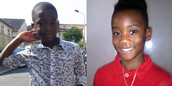 Photographies d'Andy, à gauche, 8 ans, et d'Erane-David, à droite, 7 ans, qui avaient disparu le samedi 23 juin dans l'après-midi à Eysines, dans la banlieue de Bordeaux.
