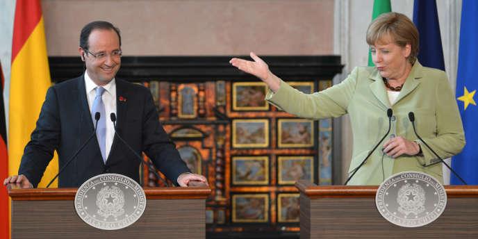 François Hollande et Angela Merkel, la chancelière allemande, à Rome, le 22 juin.