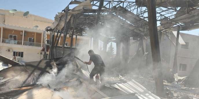 Les locaux de la chaîne d'information officielle, Al-Ikhbariya, à Damas. Son attaque a fait sept victimes.