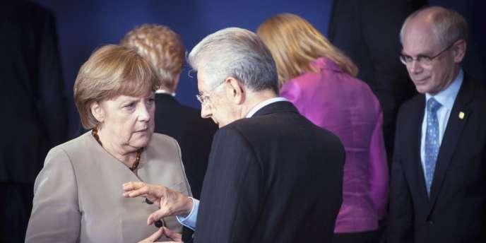 Angela Merkel, Mario Monti et Herman Van Rompuy, jeudi 28 juin à Bruxelles.