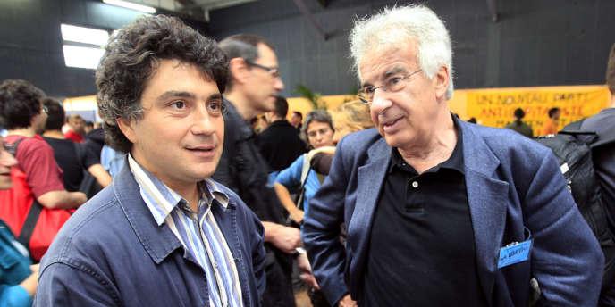 Pierre-François Grond et Alain Krivine, en juin 2008, six mois avant la création  du NPA.