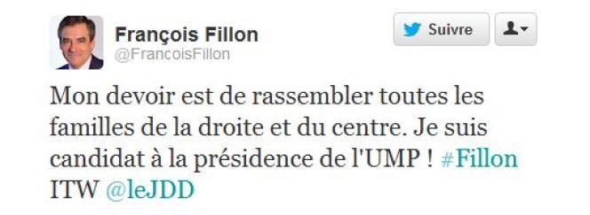 Le tweet de candidature de François Fillon.