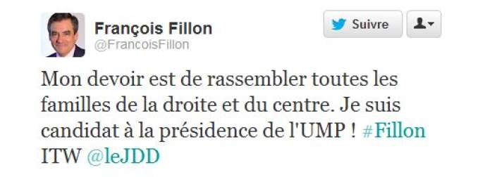Le tweet de candidature de François Fillon.