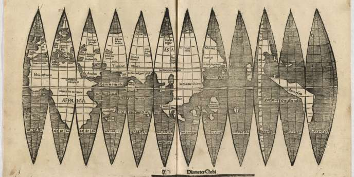 La carte du moine et cartographe allemand Martin Waldseemüller retrouvée à l'université de Munich sur laquelle figure l'Amérique et datant du XVIe siècle.